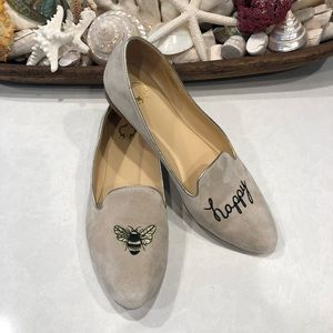 C Wonder Slip On Flats Soft Suede Be Bee Happy